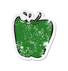 Retro distressed sticker of a cartoon apple vector