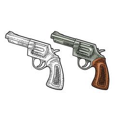 revolver with short barrel engraving vector image