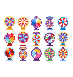 Roulette fortune spinning wheels flat icons casino vector