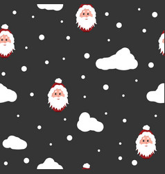 santa claus and snow background seamless pattern vector image