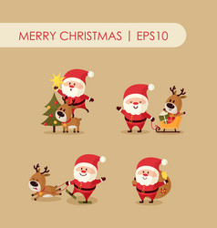 Santa claus with deer vector