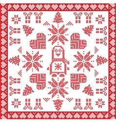 Scandinavian Nordic with penguin tile vector image