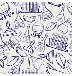 Science lab equipment seamless pattern vector