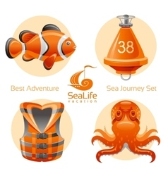 Sea travel icon set with sailing icons clown fish vector image