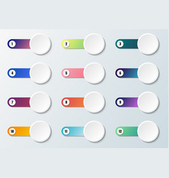 set label white circle with multicolored vector image