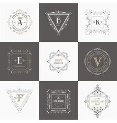 Set vintage frames and banners vector