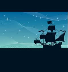 ship sailing night vector image