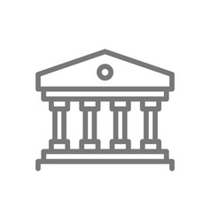 Simple building with columns line icon symbol vector