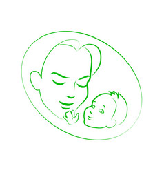sketch mother with small baby vector image
