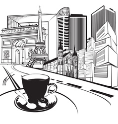 sketch trip to France vector image
