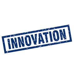 Square grunge blue innovation stamp vector