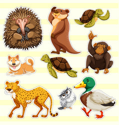 Sticker design for wild animals on yellow vector