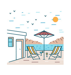 summer landscape with pair deck chairs exotic vector image