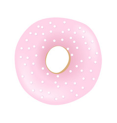 Sweet one pink donut with spotted icing and vector