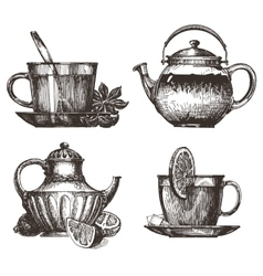 tea party logo design template drink or vector image