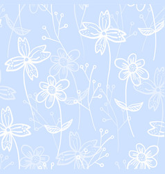 tender blue pattern with spring hand drawn flowers vector image