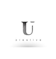 U logo design with multiple lines and black and vector
