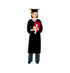 University female student graduate vector
