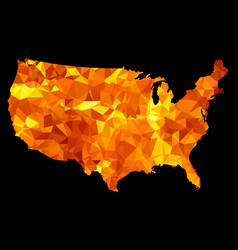 usa map triangulated silhouette isolated on black vector image