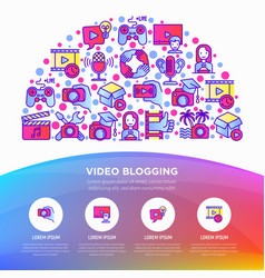 Video blogging concept in half circle with thin vector
