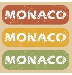 Vintage Monaco stamp set vector