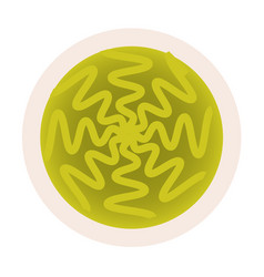 Wasabi hot mustard in dip bowl top view vector