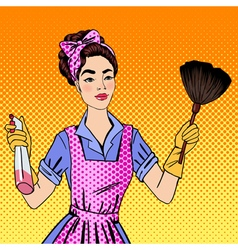 woman cleaning house girl doing house work vector image
