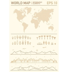 World stripes map with set of design elements vector