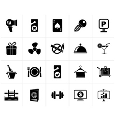 Black Hotel and motel services icons 2 vector image vector image