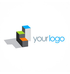 cube box building 3d logo vector image