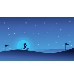 Happy people skiing sport at night landscape vector image