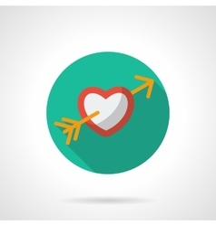 Heart with arrow round flat icon vector image vector image