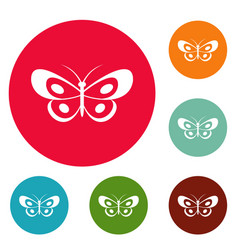 tropical butterfly icons circle set vector image