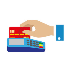cash free payment with bank credit card vector image vector image