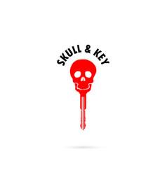 human skull silhouettes and key iconhuman skull vector image