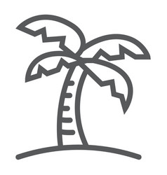 palm tree line icon travel and tourism vector image