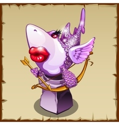 Romantic statue shark with diamonds and red lips vector image vector image