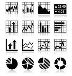Stock market analysis chart and graph icons set vector image vector image