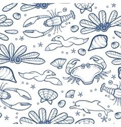 Underwater engraving tropic life seamless pattern vector image vector image