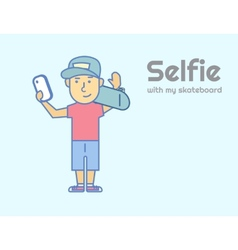 Young guy doing selfie with skateboard vector image