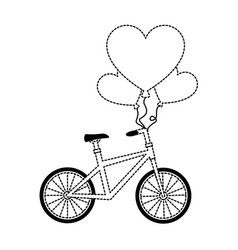 bicycle with love hearts balloons air vector image