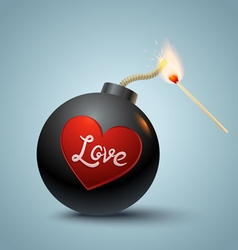 Bomb global and heart vector image