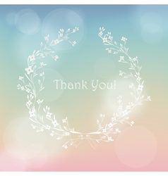 Floral wreath frame thank you card vector image