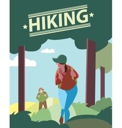 Hikers walking in outdoor vector image