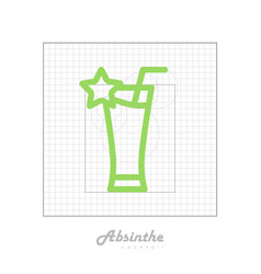 icon of cocktail with modular grid absinthe vector image