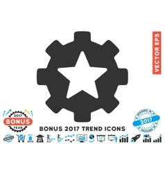 Star Favorites Options Gear Flat Icon With 2017 vector image vector image