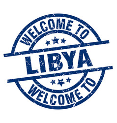 Welcome to libya blue stamp vector