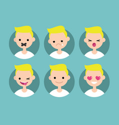 young blond boy profile pics set of flat vector image vector image