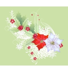 Christmas Branch with Snowflakes and Poinsettia vector image vector image