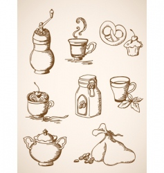 hand drawn vintage coffee icons vector image vector image
